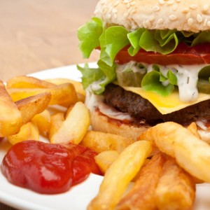 unhealthy burger and chips - poor food planning