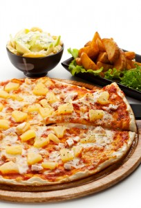 healthy eating and nutrition _ unhealthy pizza and fries